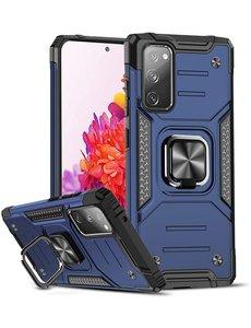 Ntech Samsung S20 FE Hoesje - Heavy Duty Armor hoesje Blauw - Galaxy S20 FE silicone TPU hybride hoesje Kickstand ringhouder met Magnetisch Auto Mount