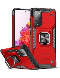 Ntech Samsung S20 FE Hoesje - Heavy Duty Armor hoesje Rood - Galaxy S20 FE silicone TPU hybride hoesje Kickstand ringhouder met Magnetisch Auto Mount