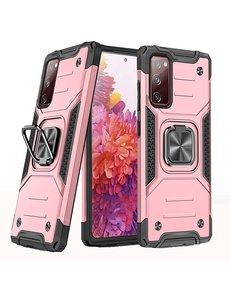 Ntech Samsung S20 FE Hoesje - Heavy Duty Armor hoesje Rose Goud - Galaxy S20 FE silicone TPU hybride hoesje Kickstand ringhouder met Magnetisch Auto Mount