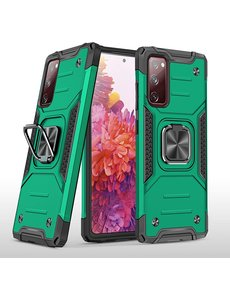 Ntech Samsung S20 FE Hoesje - Heavy Duty Armor hoesje Groen - Galaxy S20 FE silicone TPU hybride hoesje Kickstand ringhouder met Magnetisch Auto Mount
