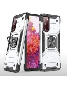 Ntech Samsung S20 FE Hoesje - Heavy Duty Armor hoesje Zilver - Galaxy S20 FE silicone TPU hybride hoesje Kickstand ringhouder met Magnetisch Auto Mount