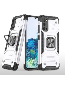 Ntech Samsung S20 Hoesje - Heavy Duty Armor hoesje Zilver - Galaxy S20 silicone TPU hybride hoesje Kickstand ringhouder met Magnetisch Auto Mount