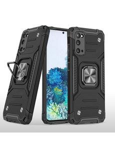 Ntech Samsung S20 Hoesje - Heavy Duty Armor hoesje Zwart - Galaxy S20 silicone TPU hybride hoesje Kickstand ringhouder met Magnetisch Auto Mount