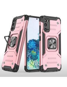 Ntech Samsung S20 Hoesje - Heavy Duty Armor hoesje Rose Goud - Galaxy S20 silicone TPU hybride hoesje Kickstand ringhouder met Magnetisch Auto Mount