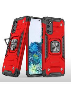 Ntech Samsung S20 Hoesje - Heavy Duty Armor hoesje Rood - Galaxy S20 silicone TPU hybride hoesje Kickstand ringhouder met Magnetisch Auto Mount