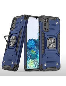 Ntech Samsung S20 Hoesje - Heavy Duty Armor hoesje Blauw - Galaxy S20 silicone TPU hybride hoesje Kickstand ringhouder met Magnetisch Auto Mount