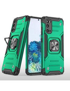 Ntech Samsung S20 Hoesje - Heavy Duty Armor hoesje Groen - Galaxy S20 silicone TPU hybride hoesje Kickstand ringhouder met Magnetisch Auto Mount