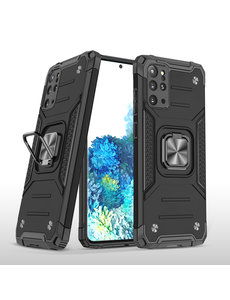 Ntech Samsung S20 Plus Hoesje - Heavy Duty Armor hoesje Zwart - Galaxy S20 Plus silicone TPU hybride hoesje Kickstand ringhouder met Magnetisch Auto Mount