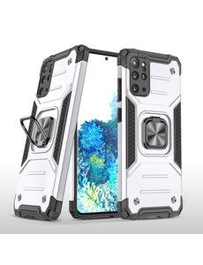 Ntech Samsung S20 Plus Hoesje - Heavy Duty Armor hoesje Zilver - Galaxy S20 Plus silicone TPU hybride hoesje Kickstand ringhouder met Magnetisch Auto Mount