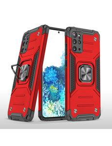 Ntech Samsung S20 Plus Hoesje - Heavy Duty Armor hoesje Rood - Galaxy S20 Plus silicone TPU hybride hoesje Kickstand ringhouder met Magnetisch Auto Mount