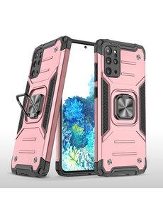 Ntech Samsung S20 Plus Hoesje - Heavy Duty Armor hoesje Rose Goud - Galaxy S20 Plus silicone TPU hybride hoesje Kickstand ringhouder met Magnetisch Auto Mount
