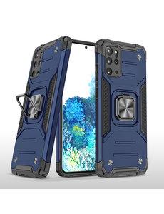 Ntech Samsung S20 Plus Hoesje - Heavy Duty Armor hoesje Blauw - Galaxy S20 Plus silicone TPU hybride hoesje Kickstand ringhouder met Magnetisch Auto Mount
