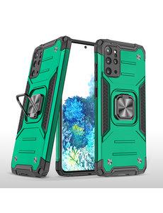 Ntech Samsung S20 Plus Hoesje - Heavy Duty Armor hoesje Groen - Galaxy S20 Plus silicone TPU hybride hoesje Kickstand ringhouder met Magnetisch Auto Mount