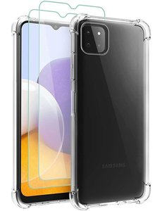 Ntech Samsung A22 hoesje shock proof transparant - Galaxy A22 5G Silicone hoesje - Hoesje Samsung Galaxy A22 5G - Samsung A22 5G Screenprotector - 2 pack