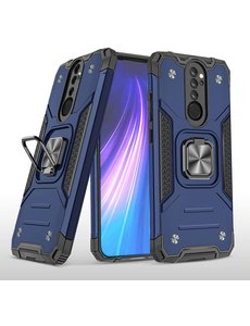 Ntech Xiaomi Redmi Note 8 Pro Hoesje - Heavy Duty Armor hoesje Blauw - Redmi Note 8 Pro silicone TPU 360-Degree hybride hoesje Kickstand ringhouder met Magnetisch Auto Mount