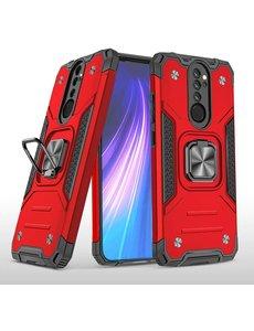 Ntech Xiaomi Redmi Note 8 Pro Hoesje - Heavy Duty Armor hoesje Rood - Redmi Note 8 Pro silicone TPU 360-Degree hybride hoesje Kickstand ringhouder met Magnetisch Auto Mount