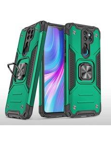 Ntech Xiaomi Redmi Note 8 Pro Hoesje - Heavy Duty Armor hoesje Groen - Redmi Note 8 Pro silicone TPU 360-Degree hybride hoesje Kickstand ringhouder met Magnetisch Auto Mount