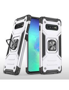 Ntech Samsung S10 Hoesje - Heavy Duty Armor hoesje Zliver - Galaxy S10 silicone TPU 360-Degree hybride hoesje Kickstand ringhouder met Magnetisch Auto Mount