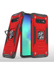 Ntech Samsung S10 Hoesje - Heavy Duty Armor hoesje Rood - Galaxy S10 silicone TPU 360-Degree hybride hoesje Kickstand ringhouder met Magnetisch Auto Mount