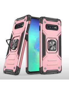Ntech Samsung S10 Hoesje - Heavy Duty Armor hoesje Rose Goud - Galaxy S10 silicone TPU 360-Degree hybride hoesje Kickstand ringhouder met Magnetisch Auto Mount