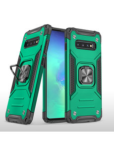 Ntech Samsung S10 Hoesje - Heavy Duty Armor hoesje Groen - Galaxy S10 silicone TPU 360-Degree hybride hoesje Kickstand ringhouder met Magnetisch Auto Mount