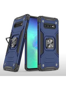 Ntech Samsung S10 Hoesje - Heavy Duty Armor hoesje Blauw - Galaxy S10 silicone TPU 360-Degree hybride hoesje Kickstand ringhouder met Magnetisch Auto Mount