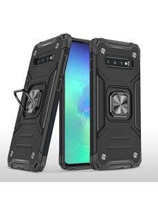 Ntech Samsung S10 Hoesje - Heavy Duty Armor hoesje Zwart - Galaxy S10 silicone TPU 360-Degree hybride hoesje Kickstand ringhouder met Magnetisch Auto Mount