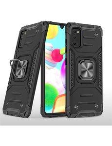 Ntech Samsung A41 Hoesje - Heavy Duty Armor hoesje Zwart - Galaxy A41 silicone TPU 360-Degree hybride hoesje Kickstand ringhouder met Magnetisch Auto Mount