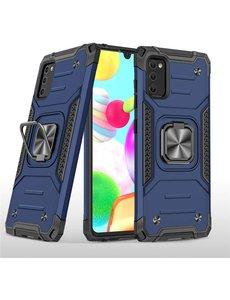 Ntech Samsung A41 Hoesje - Heavy Duty Armor hoesje Blauw - Galaxy A41 silicone TPU 360-Degree hybride hoesje Kickstand ringhouder met Magnetisch Auto Mount