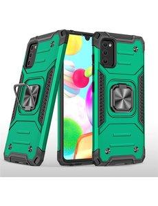 Ntech Samsung A41 Hoesje - Heavy Duty Armor hoesje Groen - Galaxy A41 silicone TPU 360-Degree hybride hoesje Kickstand ringhouder met Magnetisch Auto Mount