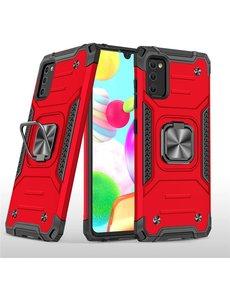 Ntech Samsung A41 Hoesje - Heavy Duty Armor hoesje Rood - Galaxy A41 silicone TPU 360-Degree hybride hoesje Kickstand ringhouder met Magnetisch Auto Mount