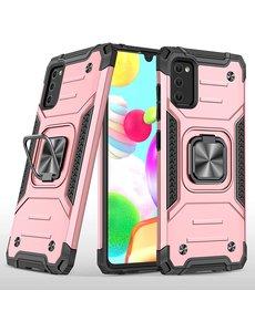 Ntech Samsung A41 Hoesje - Heavy Duty Armor hoesje Rose Goud - Galaxy A41 silicone TPU 360-Degree hybride hoesje Kickstand ringhouder met Magnetisch Auto Mount