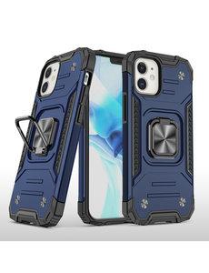Ntech iPhone 12 Hoesje - Heavy Duty Armor hoesje Blauw - iPhone 12 Pro hoesje silicone TPU 360-Degree hybride hoesje Kickstand ringhouder met Magnetisch Auto Mount