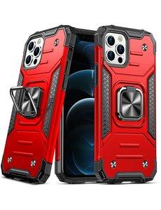 Ntech iPhone 12 Hoesje - Heavy Duty Armor hoesje Rood - iPhone 12 Pro hoesje silicone TPU 360-Degree hybride hoesje Kickstand ringhouder met Magnetisch Auto Mount