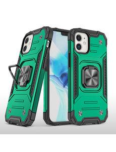 Ntech iPhone 12 Hoesje - Heavy Duty Armor hoesje Groen - iPhone 12 Pro hoesje silicone TPU 360-Degree hybride hoesje Kickstand ringhouder met Magnetisch Auto Mount