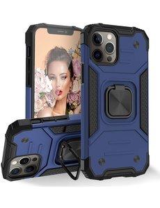 Ntech iPhone 12 Pro Max Hoesje - Heavy Duty Armor hoesje Blauw - iPhone 12 Pro Max hoesje silicone TPU 360-Degree hybride hoesje ringhouder met Magnetisch Auto Mount