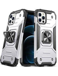 Ntech iPhone 12 Pro Max Hoesje - Heavy Duty Armor hoesje Zliver - iPhone 12 Pro Max hoesje silicone TPU 360-Degree hybride hoesje ringhouder met Magnetisch Auto Mount