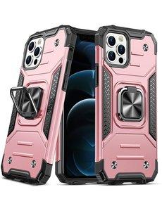 Ntech iPhone 12 Pro Max Hoesje - Heavy Duty Armor hoesje Rose Goud - iPhone 12 Pro Max hoesje silicone TPU 360-Degree hybride hoesje ringhouder met Magnetisch Auto Mount