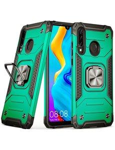 Ntech Huawei P30 Lite Hoesje - Heavy Duty Armor hoesje Groen - Huawei P30 Lite New Edition hoesje silicone TPU 360-Degree hybride hoesje Kickstand ringhouder met Magnetisch Auto Mount