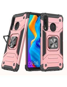 Ntech Huawei P30 Lite Hoesje - Heavy Duty Armor hoesje Rose Goud - Huawei P30 Lite New Edition hoesje silicone TPU 360-Degree hybride hoesje Kickstand ringhouder met Magnetisch Auto Mount