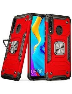 Ntech Huawei P30 Lite Hoesje - Heavy Duty Armor hoesje Rood - Huawei P30 Lite New Edition hoesje silicone TPU 360-Degree hybride hoesje Kickstand ringhouder met Magnetisch Auto Mount