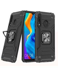 Ntech Huawei P30 Lite Hoesje - Heavy Duty Armor hoesje Zwart - Huawei P30 Lite New Edition hoesje silicone TPU 360-Degree hybride hoesje Kickstand ringhouder met Magnetisch Auto Mount
