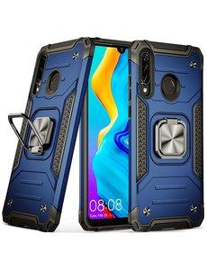 Ntech Huawei P30 Lite Hoesje - Heavy Duty Armor hoesje Blauw - Huawei P30 Lite New Edition hoesje silicone TPU 360-Degree hybride hoesje Kickstand ringhouder met Magnetisch Auto Mount