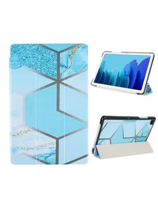 Ntech iPad 2020 hoes - iPad hoes 2019 / iPad 2021 Hoes- Book case Tri-Fold - iPad 2020 10.2 hoesje smart cover tablethoes  - Marble Blauw