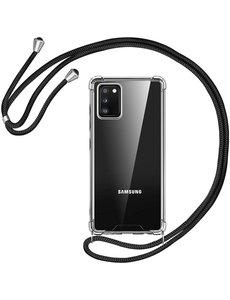Ntech Samsung A02s Hoesje transparant silicone met Koord - Galaxy A02S Koord hoesje draagkoord TPU backcover - Zwart
