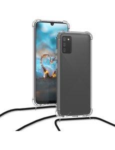 Ntech Samsung S10 Lite 2020 Hoesje transparant silicone met Koord - Galaxy S10 Lite 2020 Koord hoesje draagkoord TPU backcover - Zwart