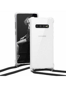Ntech Samsung S10 Plus Hoesje transparant silicone met Koord - Galaxy S10 Plus Koord hoesje draagkoord TPU backcover - Zwart
