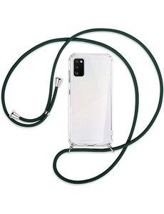Ntech Samsung A41 Hoesje transparant silicone met Koord - Galaxy A41 Koord hoesje draagkoord TPU backcover - Zwart