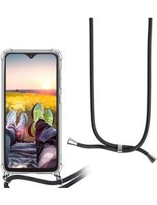 Ntech Samsung A71 Hoesje transparant silicone met Koord - Galaxy A71 Koord hoesje draagkoord TPU backcover - Zwart
