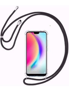 Ntech Huawei P Smart Z Hoesje transparant silicone met Koord - P Smart Z Koord hoesje draagkoord TPU backcover - Zwart